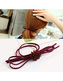 Trendy Claret Red Flower Decorated Pure Color Multi-layer Hair Band