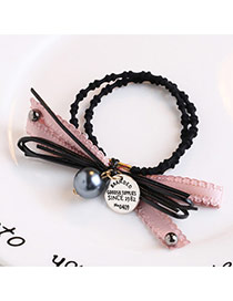 Trendy Green Bead Pendant Decorated Bowknot Shape Double Layer Hair Band