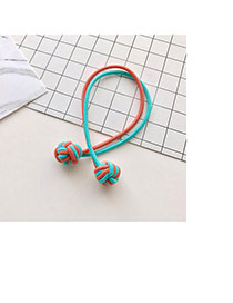Fashion Blue Knots Decorated Color Matching Double Layer Hair Band
