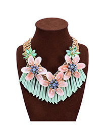 Trendy Green Shell Decorated Flower Shape Design Multi-layer Necklace