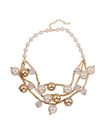 Fashion Yellow Pearls Decorated Hollow Oout Design Necklace