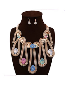 Trendy Yellow Oval Shape Diamond Decorated Geometric Shape Necklace