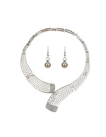 Fashion Silver Color Diamond Decorated Pure Color Hollow Out Design Jewelry Sets