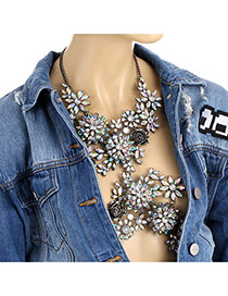 Fashion Black Water Drop Shape Diamond Decorated Flower Shape Design Body Chain