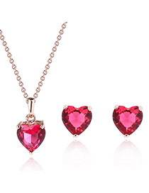 Fashion Plum Red Heart Pendant Decorated Pure Color Design Jewelry Sets