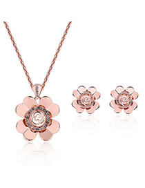 Fashion Rose Gold Clover Pendant Decorated Hollow Out Design Jewelry Sets
