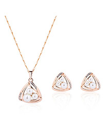 Fashion Gold Color Diamond&pearls Pendant Decorated Triangle Shape Design Jewelry Sets