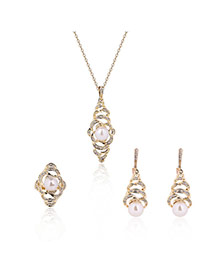 Fashion Gold Color Pearls Decorated Hollow Out Design Simple Jewelry Sets