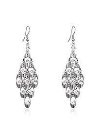 Fashion Silver Color Pure Color Decorated Hollow Out Design Earrings