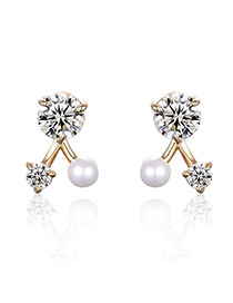 Fashion Gold Color Pearls&diamond Decorated Irregular Shape Simple Earrings