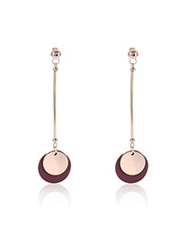 Fashion Gold Color Round Shape Pendant Decorated Color Matching Design Earrings