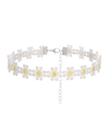 Sweet White+yellow Daisy Decorated Color Matching Hollow Out Simple Choker