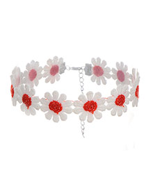 Sweet White+red Daisy Decorated Color Matching Hollow Out Simple Choker