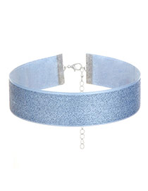 Fashion Blue Pure Color Decorated Simple Width Lace Choker