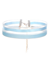 Fashion Blue Color Matching Decorated Double Layer Design Choker