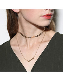 Fashion Gold Color Copper Sheet Decorated Double Layer Simple Necklace