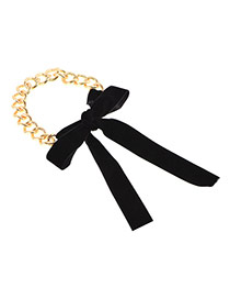 Fashion Black Bowknot Decorated Color Matching Simple Choker
