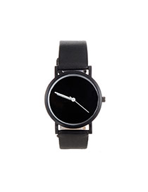 Fashion Black Pure Color Decorated Round Dial Design Watch