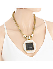 Fashion Gold Color Geometric Shape Gemstone Decorated Simple Necklace