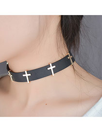Fashion Black Cross Decorated Color Matching Design Choker