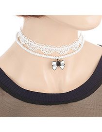 Fashion White Butterfly Pendant Decorated Double Layer Design Choker