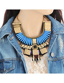 Fashion Blue Diamond Decorated Geometric Shape Design Necklace
