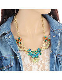 Fashion Green Water Drop Shape Diamond Decorated Color Matching Necklace
