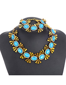 Fashion Blue Oval Shape Diamond Decorated Color Matching Jewelry Sets