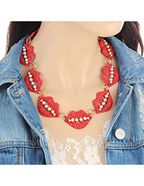 Fashion Red Pearls Decorated Lip Shape Design Necklace