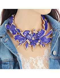 Fashion Purple Flower Decorated Color Matching Design Necklace