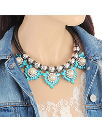 Fashion Blue Pearls&diamond Decorated Color Matching Necklace