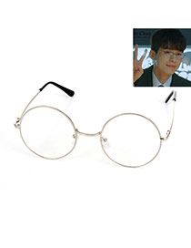 Fashion Silver Color Color Matching Decorated Round Case Thin Leg Sunglasses