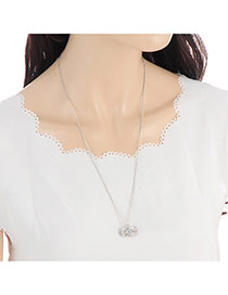 Fashion Silver Color Pure Color Decorated Mask Shape Design Simple Necklace