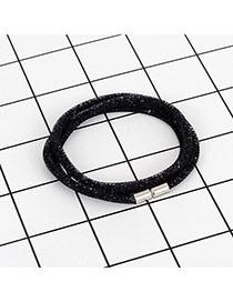 Fashion Black Pure Color Decorated Multi-layer Design Bracelet