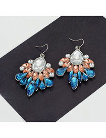 Fashion Multi-color Water Drop Shape Diamond Decorared Color Matching Earrings