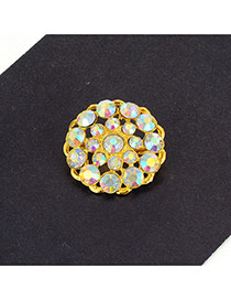 Fashion Multi-color Round Shape Diamond Decorated Hollow Out Simple Brooch