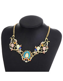 Fashion Multi-color Water Drop Diamond Decorated Hollow Out Simple Necklace