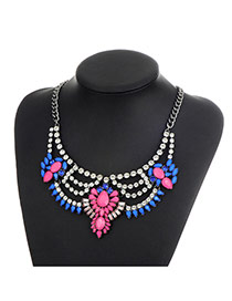 Fashion Multi-color Oval Shape Diamond Decorated Hollow Out Simple Necklace