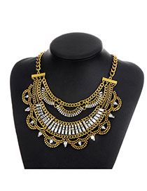 Fashion Gold Color Sqaure Shape Diamond Decorated Hollow Out Simple Necklace