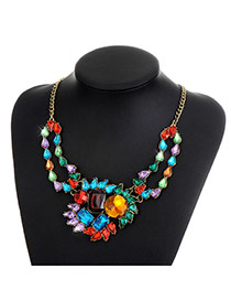 Fashion Multi-color Water Drop Diamond Decorated Color Matching Simple Necklace
