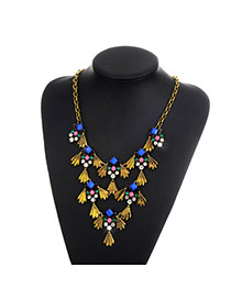 Fashion Gold Color Daimond Decorated Fish Shape Simple Necklace