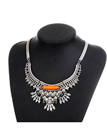 Fashion Silver Color Oval Shape Diamond Decorated Hollow Out Simple Necklace