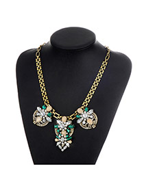 Fashion Green Oval Shape Diamond Decorated Color Matching Necklace