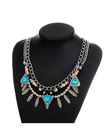 Fashion Blue Leaf Decorated Double Layer Colro Matching Necklace