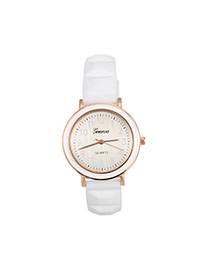 Fashion White Color Matching Decorated Round Dail Simple Watch