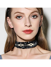 Fashion Black Color Matching Decorated Simple Width Choker