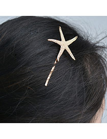 Cute Gold Color Hairclip Decorated With Starfish Of Pure Color