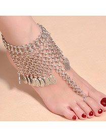 Exagerated Plated Color Foot-chain Decorated With Pedents In Round Shape