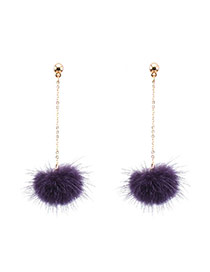 Fashion Purple Earrings Decorated With Fuzzy Ball