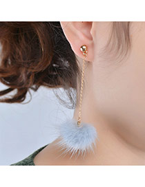 Fashion Grey Earrings Decorated With Fuzzy Ball